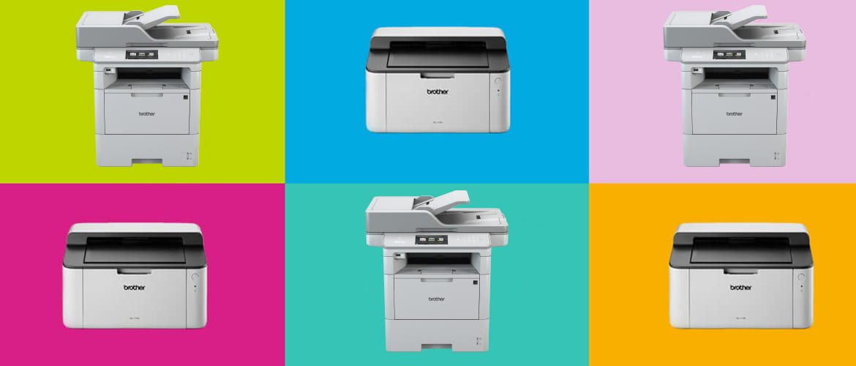 stampante e multifunzione Brother su sfondo a colori