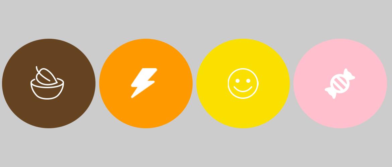 4 cerchi colorati con icone significato colore
