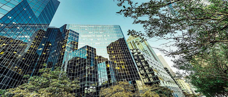 edifici aziendali moderni immersi nel verde