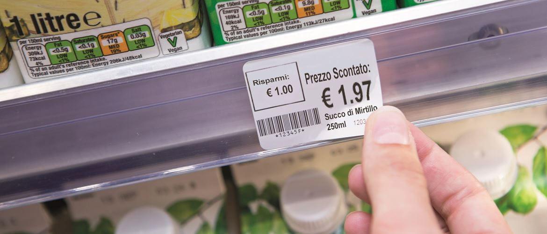 Etichetta a scaffale con prezzo, Barcode, prodotto stampata con Brother RJ
