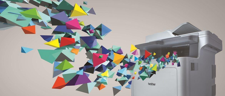 Stampante multifunzione laser a colori Brother da cui escono forme colorate