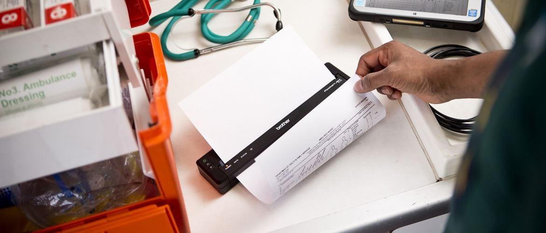 Foglio A4 stampato con stampante portatile Brothe PJ7000