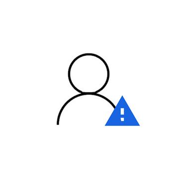 icona gestione visitatori con utente e cartello pericolo