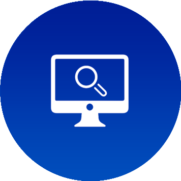 Icon blu per monitoraggio via sito web