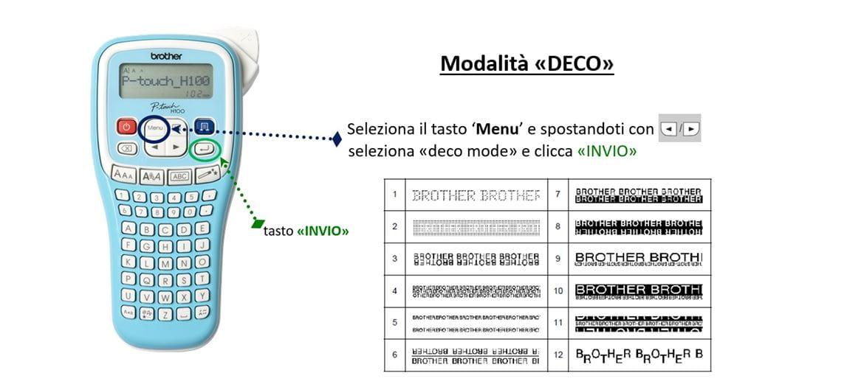 Funzionalità Deco Mode etichettatrice Brother P-touch 100LB
