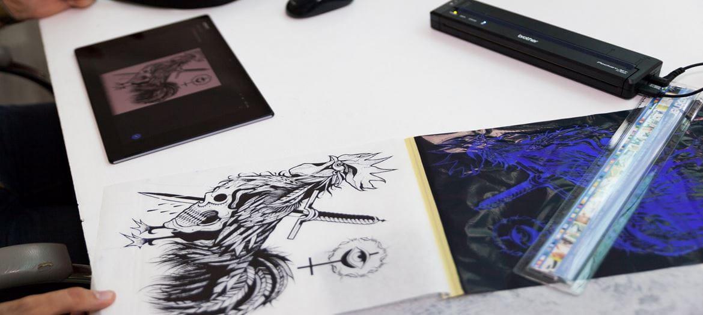 Disegno tatuaggio creato con tablet e stampat su stencil con Brother Stencil Machine PJ-723