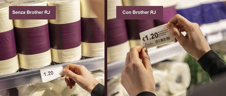 etichetta con logo, prezzo e prodotto stampata con Brother RJ