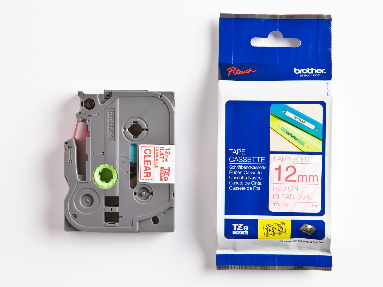 Nastro orginale Brother TZe-132 per etichettatrici P-touch, con nastro e confezione