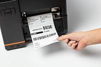 L'etichetta viene spellicolata dall'accessorio per le stampanti TJ
