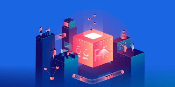 Illustrazione con cubo rosso con persone che lavorano e workflow