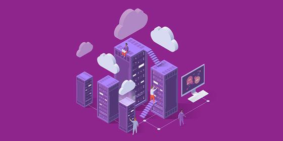 Illustrazione di persone che lavorano in uffici, con pc, scale e nuvole