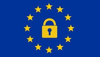 Simbolo Unione Europea con lucchetto per regolamento GDPR