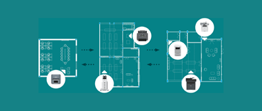 Top down diagram of six Brother devices including office document printers, a scanner and label printer situated over floor plans of three office spaces on a teal background