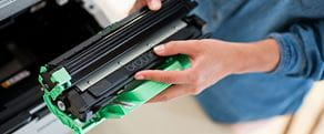 Brother original supplies showing ink cartridge being replaced