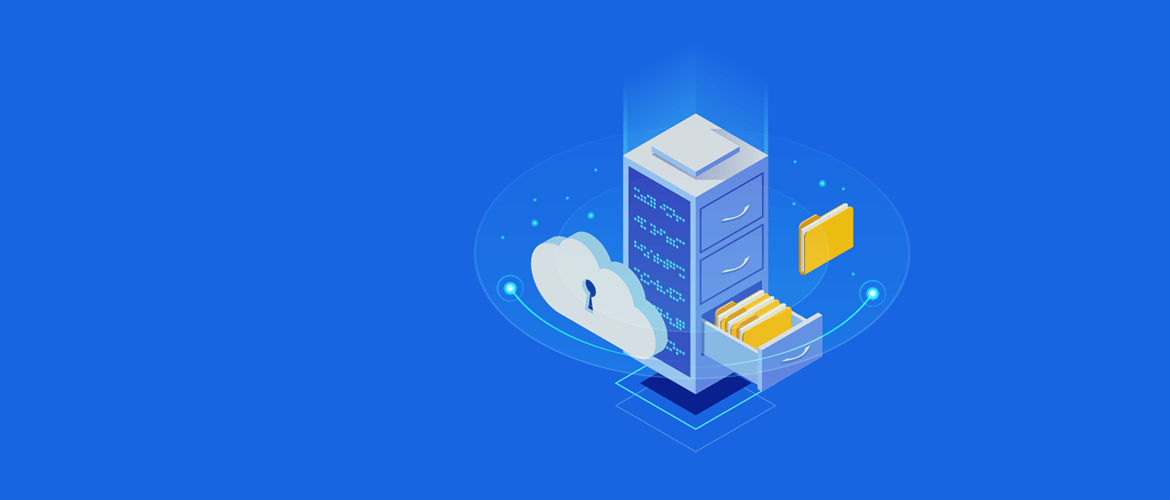 Blue background with filing cabinet illustration, cloud, files