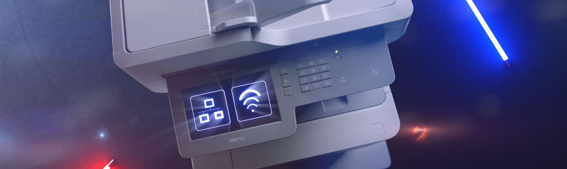Brother MFC-L9570CDW business colour laser printer with network and WiFi icon on touchscreen