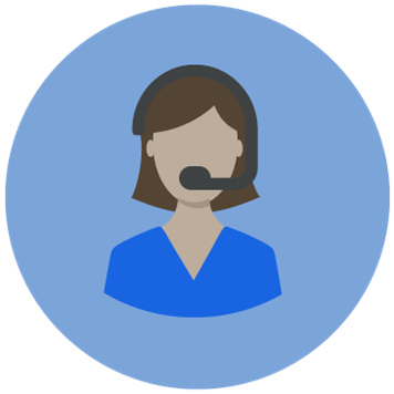 Icon of a female wearing headset in a blue circle background