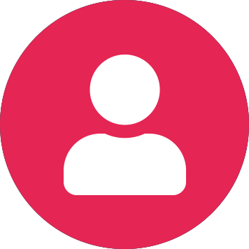 White user icon on pink circle background