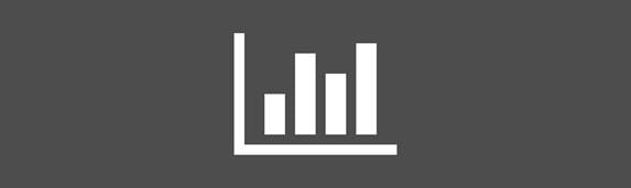 white graphs icon against an grey background