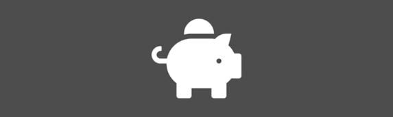 white piggy bank money icon against an grey background