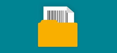Folder with barcode inserted