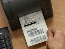 Label printed on a Brother TD-4D series label printer