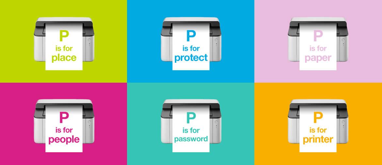 Kuusi helppoa tapaa tietojen suojaamiseen: sijoitus, varkaudenesto, paperi, ihmiset, salasana ja tulostin