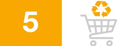 Blog image icon and number for 10 ways to help the environment: 5) Buy from companies with eco-friendly policies