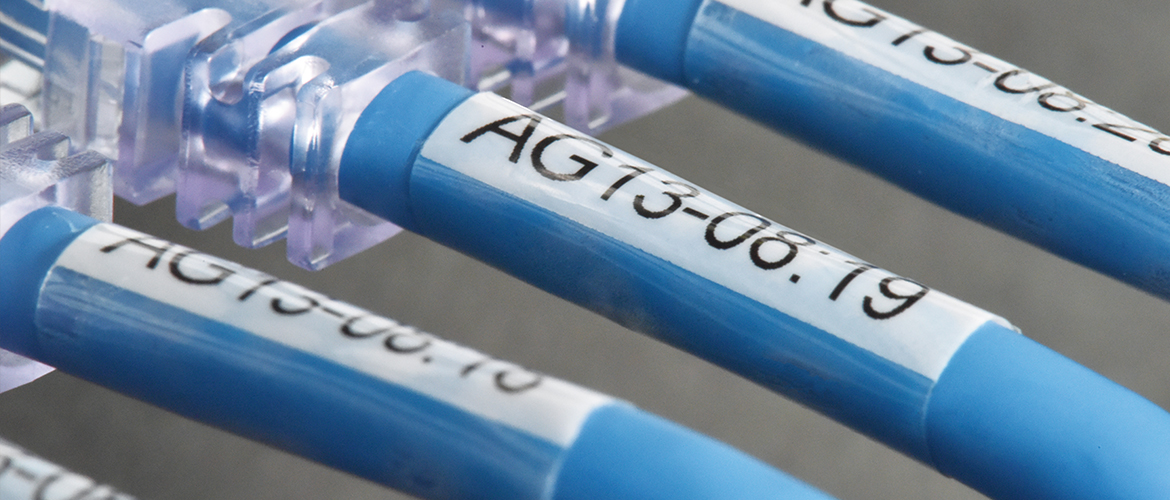 A close-up of three, light blue network cables with black-on-white labels