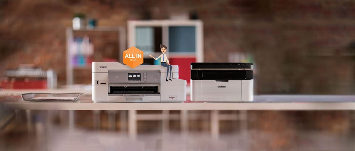 All-in-box character next to MFC-J1300DW & DCP-1610W Brother printers