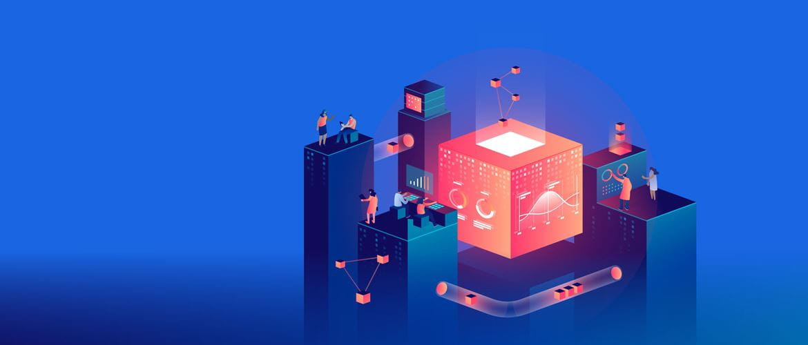 Ilustration on a blue background with fuschia cube surrounded by blue columns, people, data