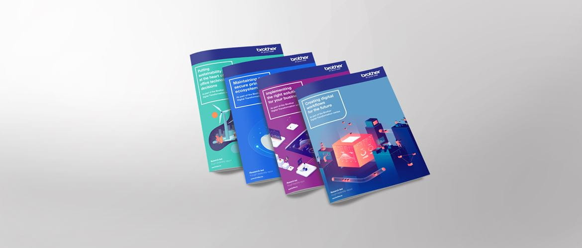 Four different brochures laid out on grey background