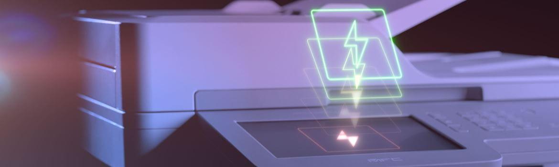 Brother MFC-L9570CDW-lasermonitoimilaitteen kosketusnäytössä on kuvattuna salama