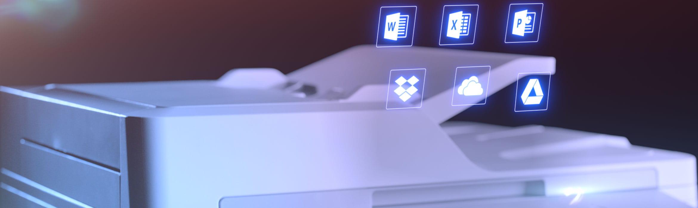 Brother MFC-L9570CDW business  multifunksjon farge laserskriver med Microsoft office ikon over den automatisk dokumentmater