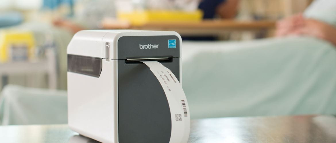 A Brother label printer in hospital setting