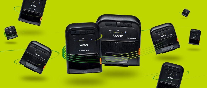 Brother mobile etikettskrivere og kvitteringsskrivere i RJ2- og RJ3- serien på en grønn bakgrunn