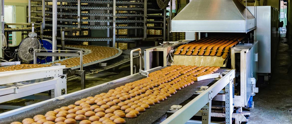 Confectionery factory. Production line of baking cookies