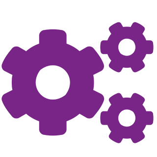 cogs icon in purple with transparent background