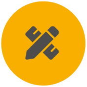 Icon for Pro-Tape showing  a pencil and a ruler to indicate designed for professionals