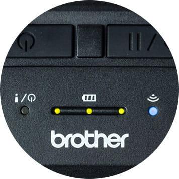 Close up of Brother RJ printer LED lights