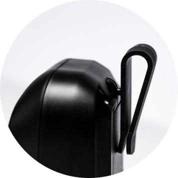 Close up of belt clip on RJ mobile printer