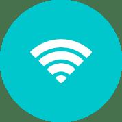 Blå cirkel med hvidt wifi ikon