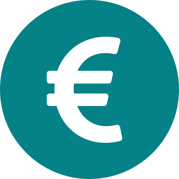White Euro sign in teal circle