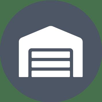 Grey circle with white warehouse icon