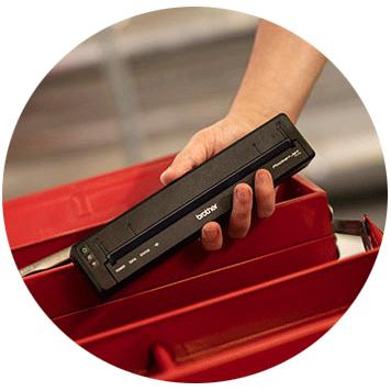 Brotherin pieni PJ-7-sarjan mobiilitulostin mahtuu työkalulaatikkoon