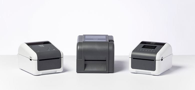 Three Brother TD-4 printers in studio setting with white background