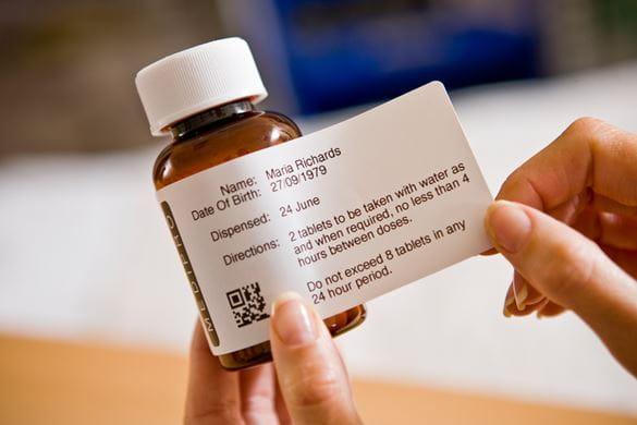 TD-tulostimella merkitty lääkepullo