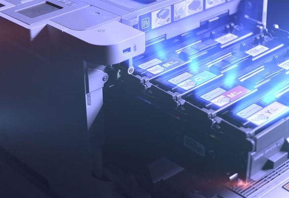 Brother HLL9310CDW business farge laserskriver med CMKY tonerskuffen trukket ut