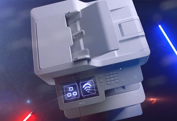 Brother MFC-L9570CDW business A4 colour laser printer from above with connectivity icons on touchscreen