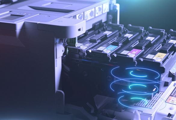 HL-L9310CDW business colour A4 printer with toner cartridges pulled out of the printer